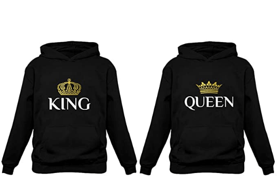 King and queen wear to match hoodie